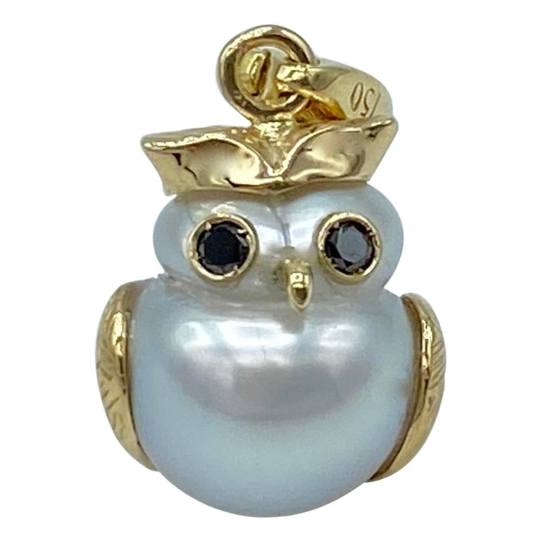 Owl Black Diamond 18Kt Australian Pearl Charm or Pendant Necklace Petronilla For Sale
