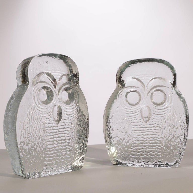 American Owl Bookends by Blenko For Sale