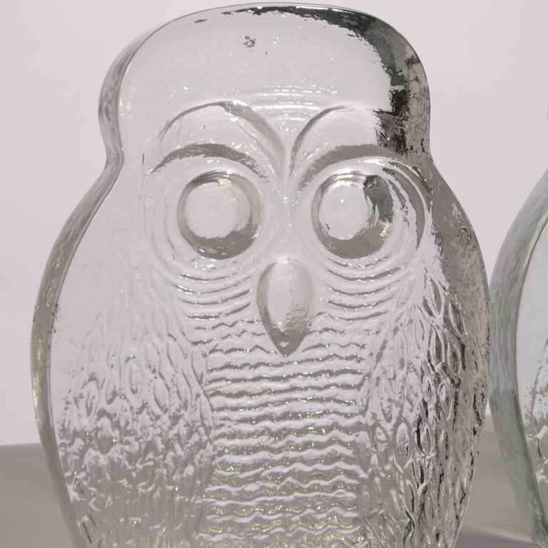 Owl Bookends by Blenko In Excellent Condition For Sale In Los Angeles, CA