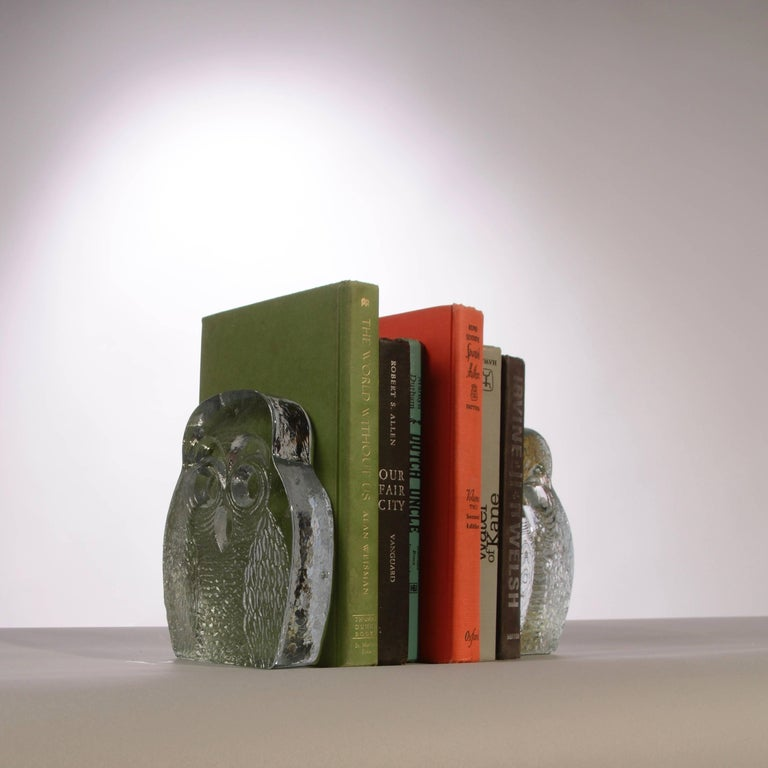Glass Owl Bookends by Blenko For Sale