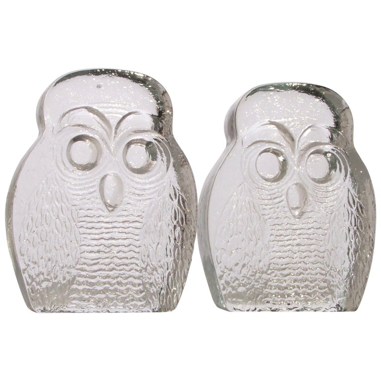 Owl Bookends by Blenko For Sale