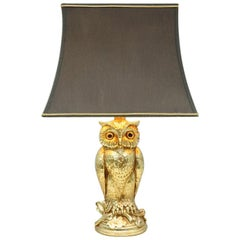 Owl Brass Table Lamp by Loevsky & Loevsky, 1970s