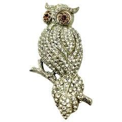 Owl Brooch, Vintage Brooks Brothers Golden Fleece, Sterling Silver, Crystals