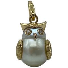 Owl Brown Diamond 18 Karat Australian Pearl Charm or Pendant Necklace