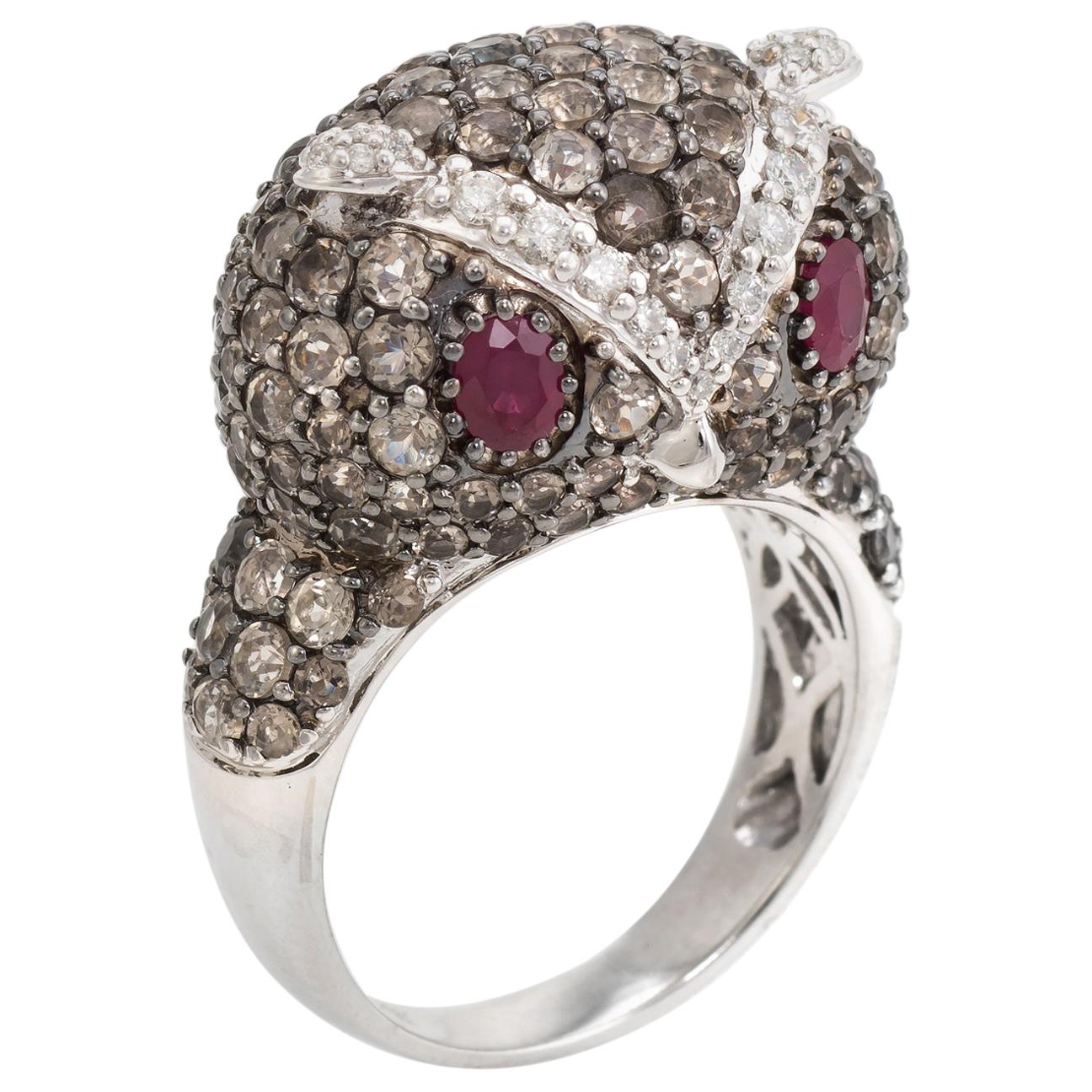 Owl Cocktail Ring Estate 18 Karat White Gold Diamond Ruby Quartz Vintage Jewelry
