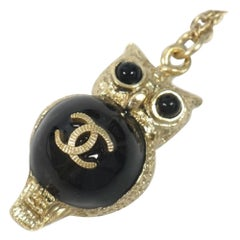 Owl  coco mark  long pendant  metal  necklace  gold Leather