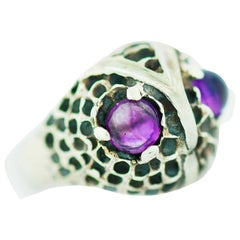 Owl Dome Ring Amethyst Colored Eyes, Sterling Silver