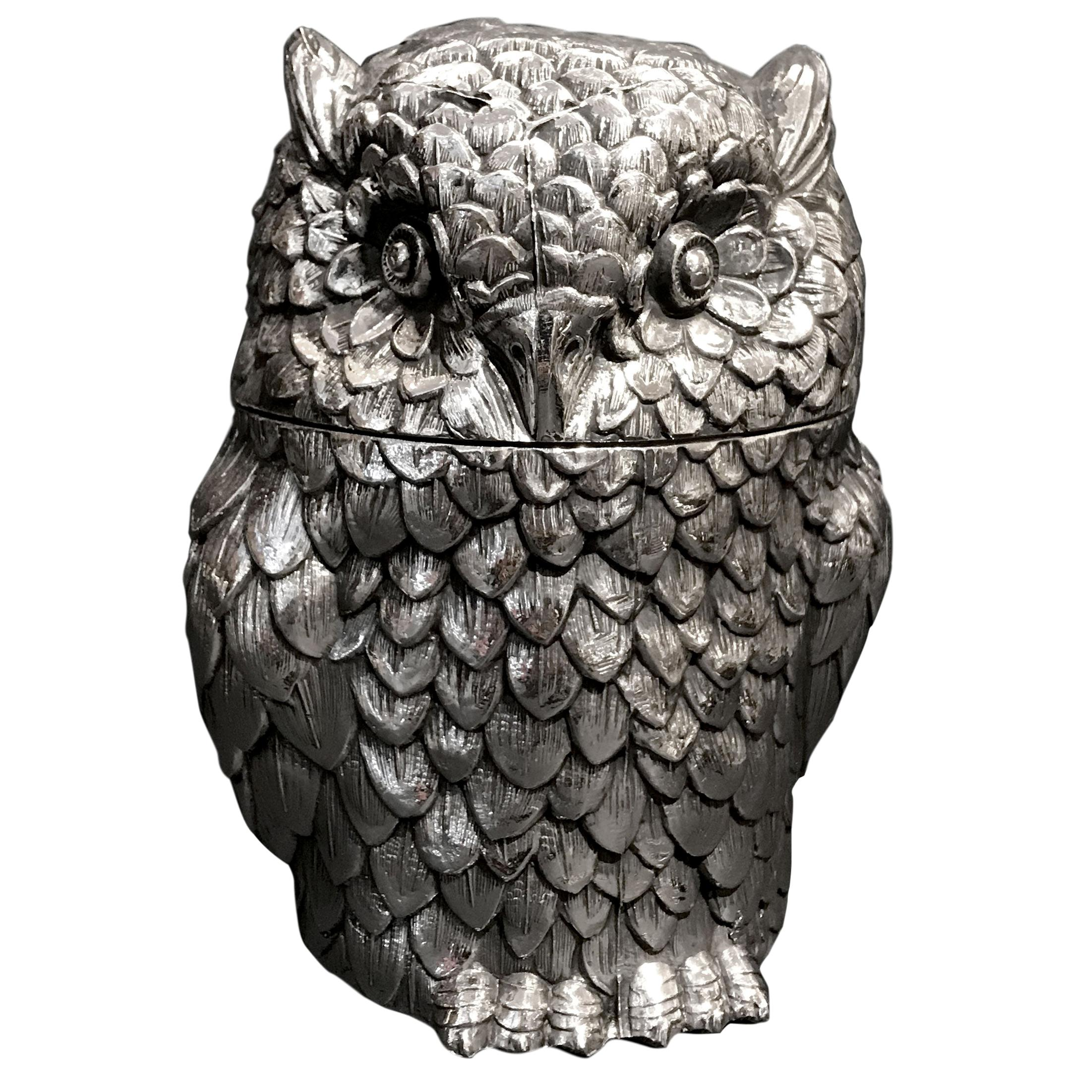Owl Ice Bucket Designed by Mauro Manetti, Silver Plated, circa 1970