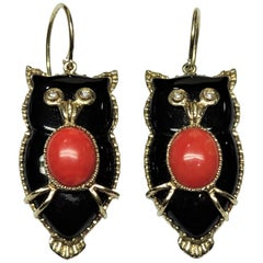 Owl Onyx Red Coral White Diamond Yellow Gold Art Nouveau 9 Karat Earrings