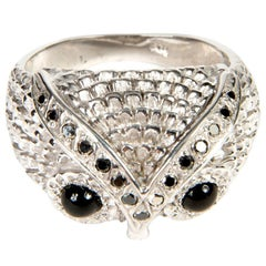Owl Silver 925 Black Diamond 0.20 Carat Band Ring