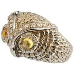 Owl Silver Diamond and Citrin Cabochon Band Ring