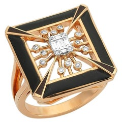 OWN Your Story 14K Rose Gold Illusion Baguette Diamond and Enamel Cubist Ring