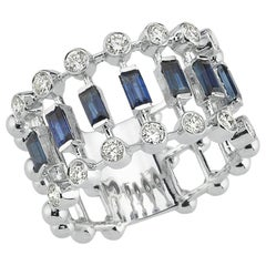 OWN Your Story 14K White Gold Brilliant Diamond& Baguette Sapphire Eternity Band