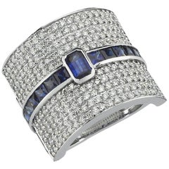 OWN Your Story 14K White Gold Brilliant Diamond Pave & Baguette Sapphire Ring