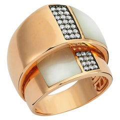 OWN Your Story 18 Karat Gold Mother of Pearl Concentric Contrast Cocktail Ring