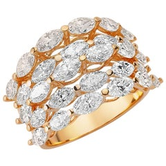 OWN Your Story 18 Karat Rose Gold Marquise Diamond Linear Mosaic Cocktail Ring