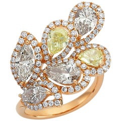 OWN Your Story 18 Karat Rose Gold Pear and Marquise Diamond Harmony Flower Ring
