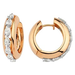 OWN Your Story 18 Karat Rose Gold Pear Diamond Lined Half Eternity Hoop Earrings