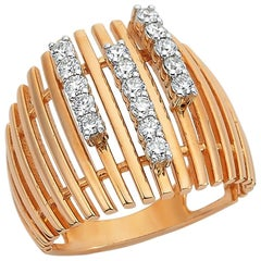 Own Your Story 18 Karat Rose Gold Three is a Charm Brilliant Diamond Lined Ring