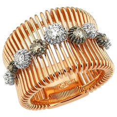 OWN Your Story 18 Karat Rose Gold White and Cognac Diamond Sprinkled Lines Ring