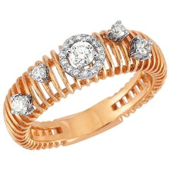 OWN Your Story 18 Karat Rose Gold White Diamond Sprinkled Verical Lined Ring