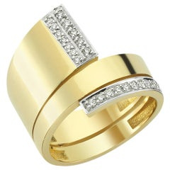 OWN Your Story 18 Karat Yellow Gold and Diamond Triple Coil Ring