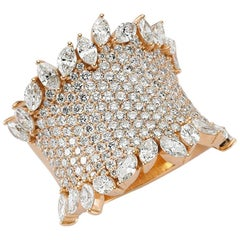 OWN Your Story 18K Rose Gold Brilliant and Marquise Diamond Edged Sheath Ring