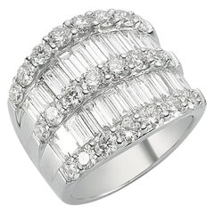 OWN Your Story 18K White Gold Round & Baguette Diamond 5 Row Half Eternity Ring
