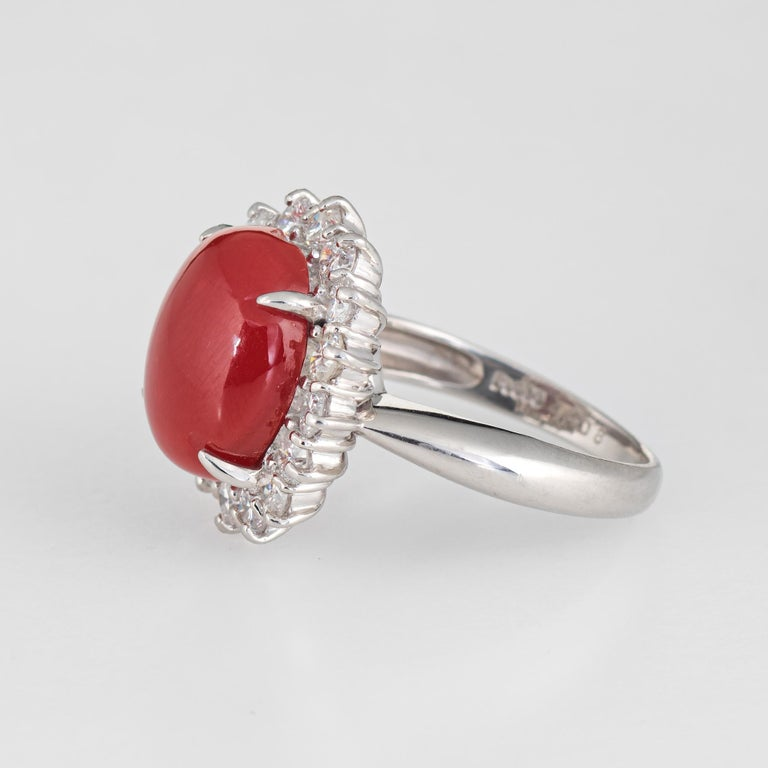 Oval Cut Ox Blood Red Coral Diamond Ring Estate Platinum Cocktail Jewelry Vintage 5.75 For Sale
