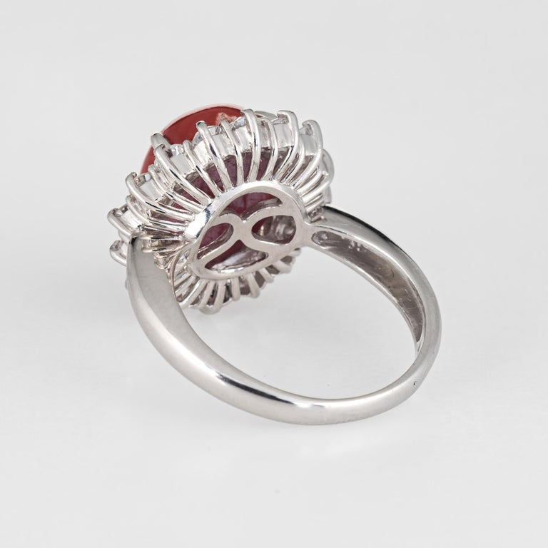 Ox Blood Red Coral Diamond Ring Estate Platinum Cocktail Jewelry Vintage 5.75 In Good Condition For Sale In West Hills, CA
