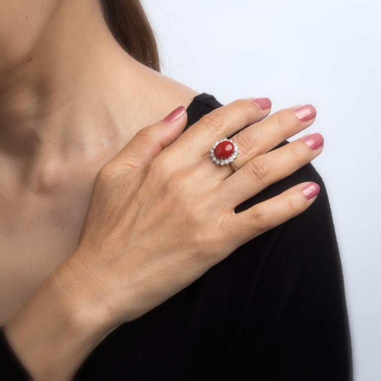 Women's Ox Blood Red Coral Diamond Ring Estate Platinum Cocktail Jewelry Vintage 5.75 For Sale