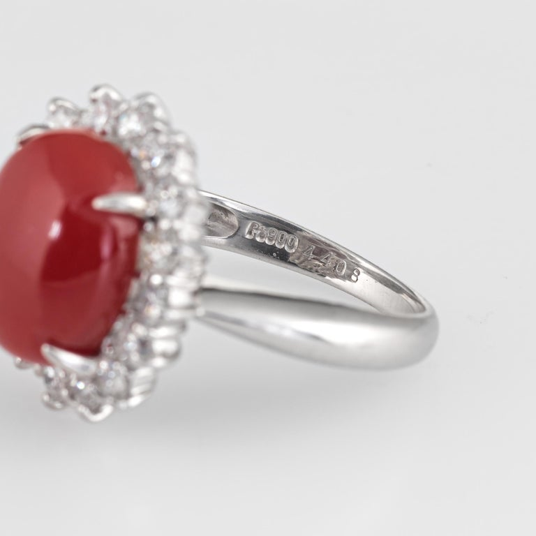Ox Blood Red Coral Diamond Ring Estate Platinum Cocktail Jewelry Vintage 5.75 For Sale 1