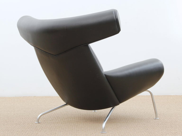 Scandinavian Modern Ox Lounge Chair, Vintage Edition 2006, Black Leather For Sale