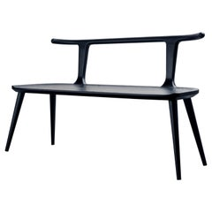 Oxbend Bench, Entryway Seat in Black Charcoal Ashwood by Fernweh Woodworking