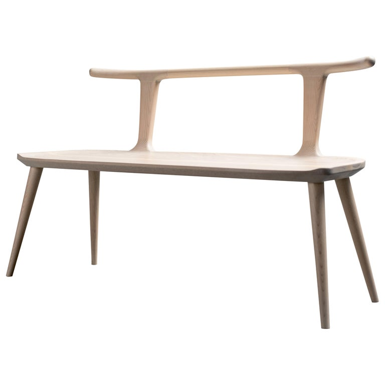 Oxbend Bench, Entryway Seat in White Ashwood by Fernweh Woodworking For Sale