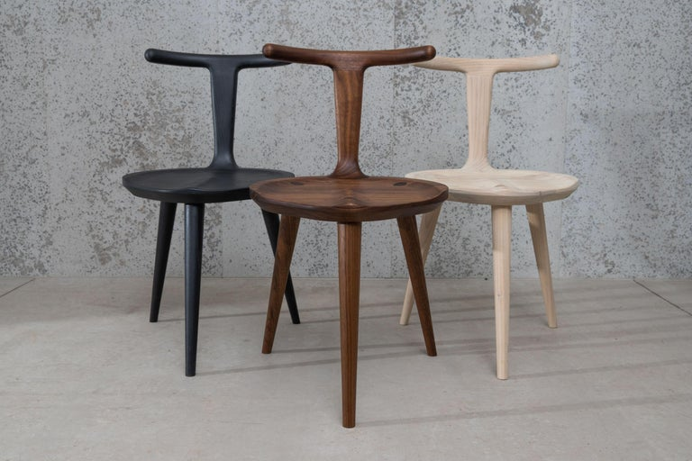 Hand-Crafted Oxbend Chair 3 Legs, Dining Seat in Charcoal Wood by Fernweh Woodworking For Sale