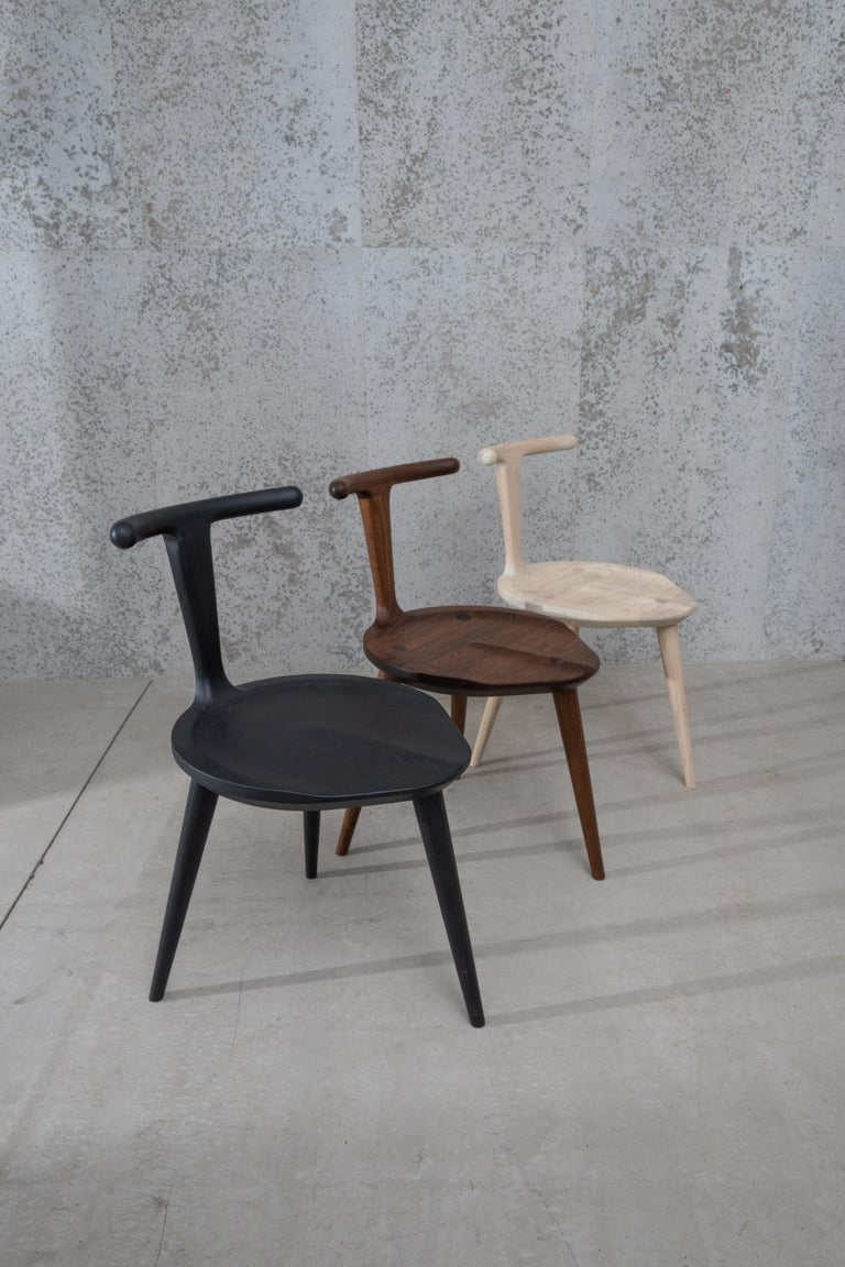 Contemporary Oxbend Chair 3 Legs, Dining Seat in Charcoal Wood by Fernweh Woodworking For Sale