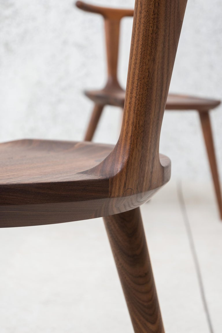 Oxbend Chair 3 Legs, Dining Seat in Walnut Wood by Fernweh Woodworking For Sale 7
