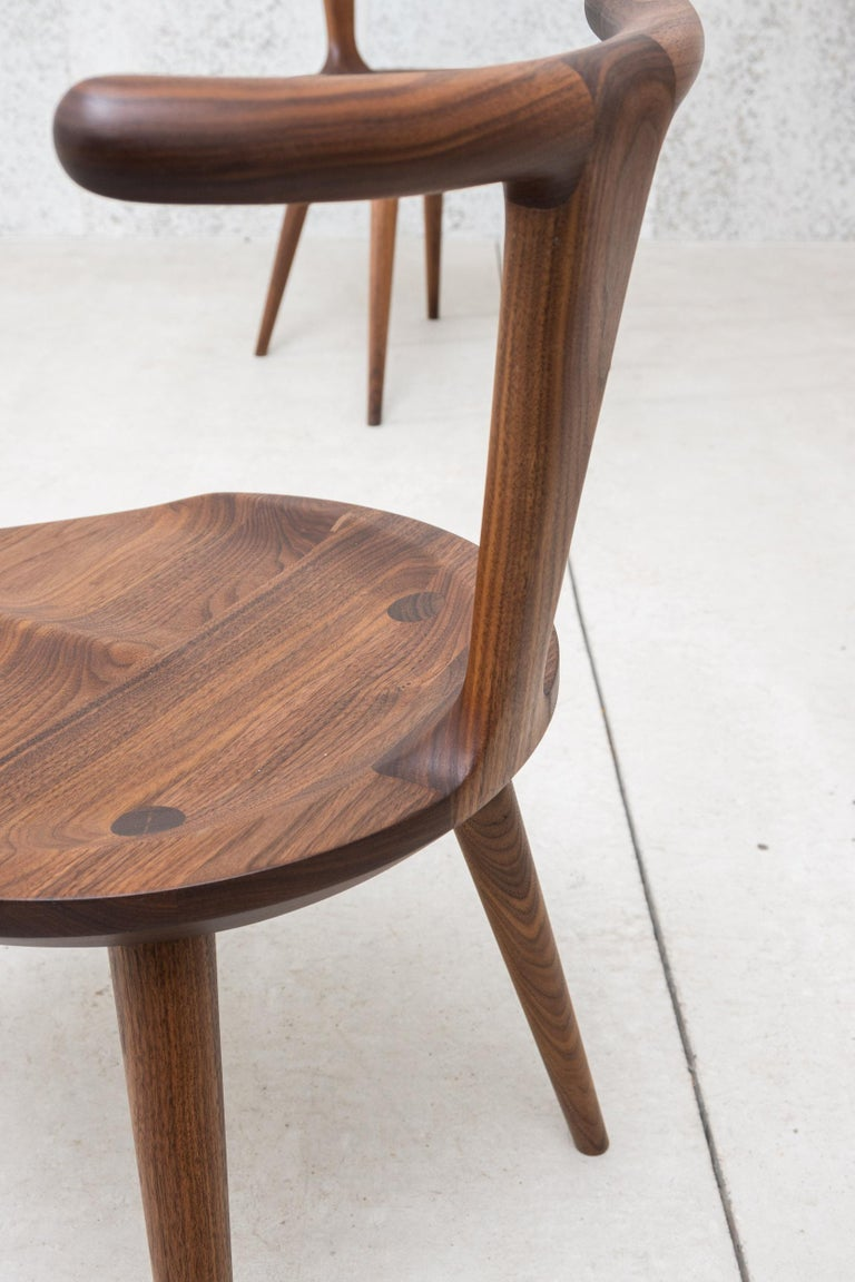 Oxbend Chair 3 Legs, Dining Seat in Walnut Wood by Fernweh Woodworking For Sale 10