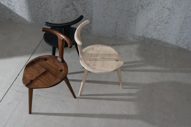 Modern Oxbend Chair 3 Legs, Dining Seat in Walnut Wood by Fernweh Woodworking For Sale