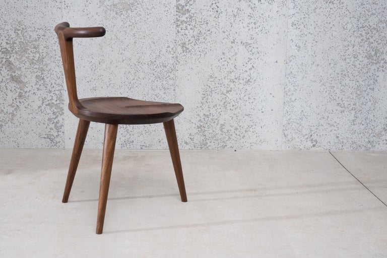 Hand-Crafted Oxbend Chair 3 Legs, Dining Seat in Walnut Wood by Fernweh Woodworking For Sale