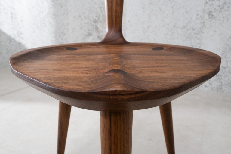 Contemporary Oxbend Chair 3 Legs, Dining Seat in Walnut Wood by Fernweh Woodworking For Sale