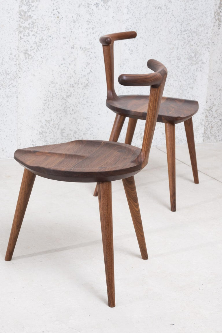 Oxbend Chair 3 Legs, Dining Seat in Walnut Wood by Fernweh Woodworking For Sale 2