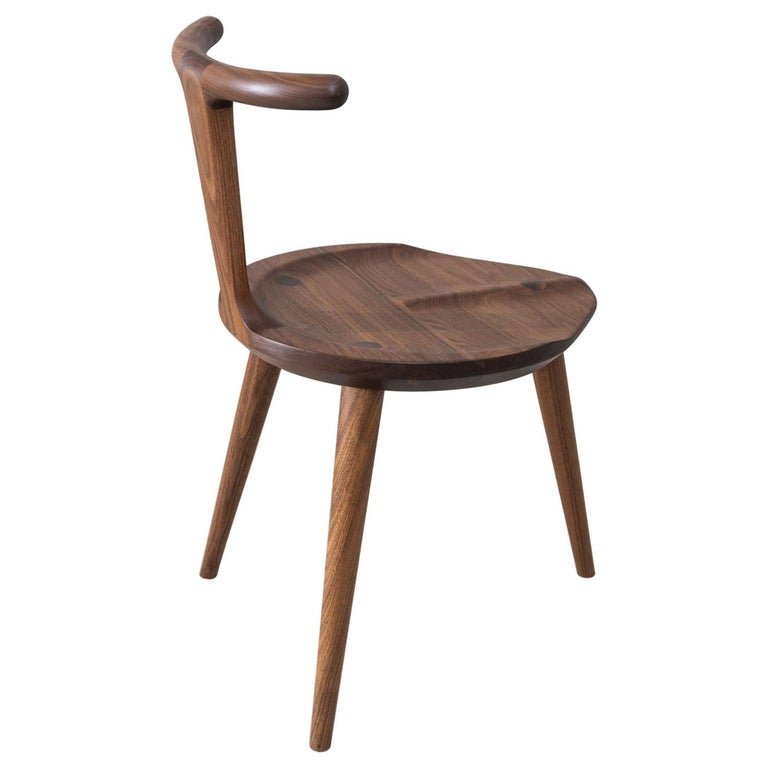Oxbend Chair 3 Legs, Dining Seat in Walnut Wood by Fernweh Woodworking For Sale