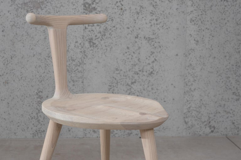 Oxbend Chair 3 Legs, Dining Seat in White Ash Wood by Fernweh Woodworking For Sale 5