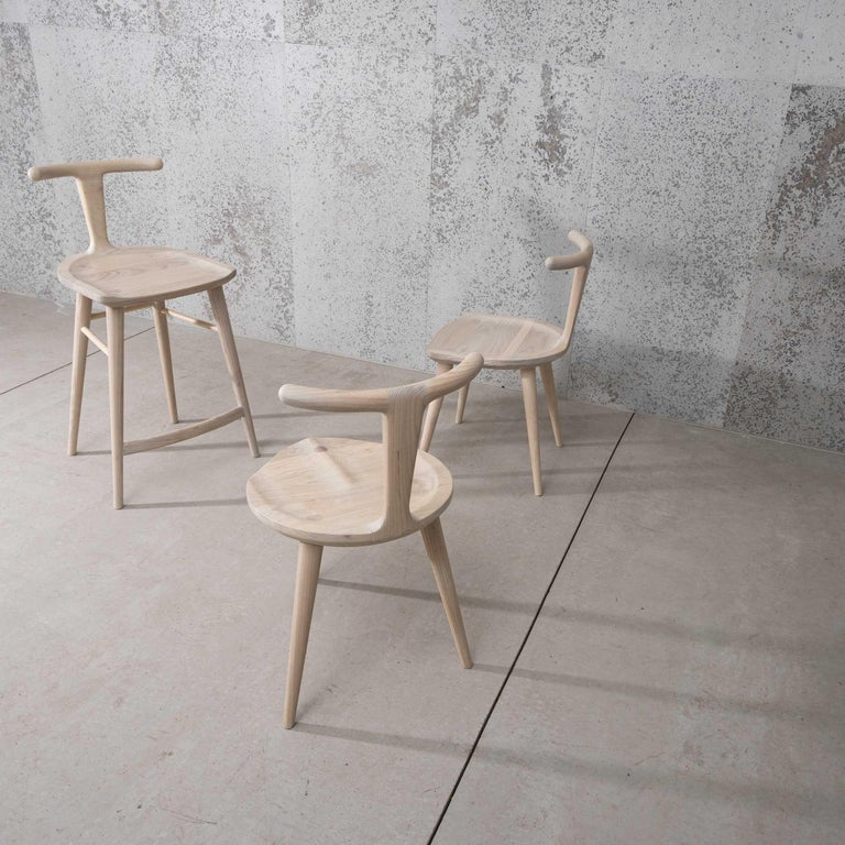 Hand-Crafted Oxbend Chair 3 Legs, Dining Seat in White Ash Wood by Fernweh Woodworking For Sale