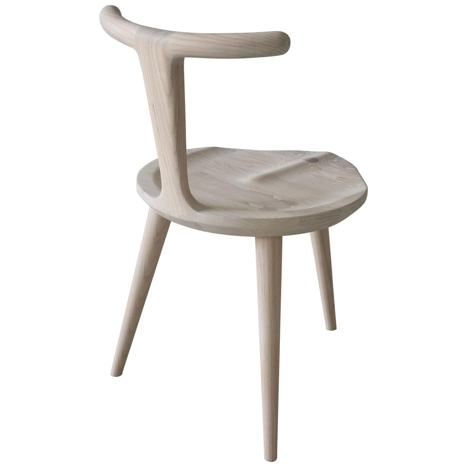 Oxbend Chair 3 Legs, Dining Seat in White Ash Wood by Fernweh Woodworking