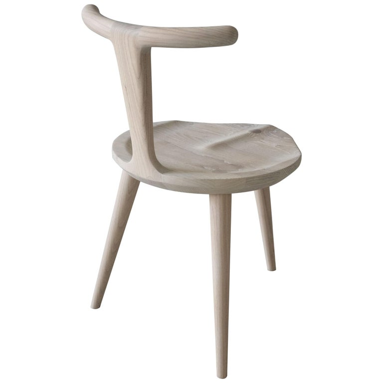 Oxbend Chair 3 Legs, Dining Seat in White Ash Wood by Fernweh Woodworking For Sale