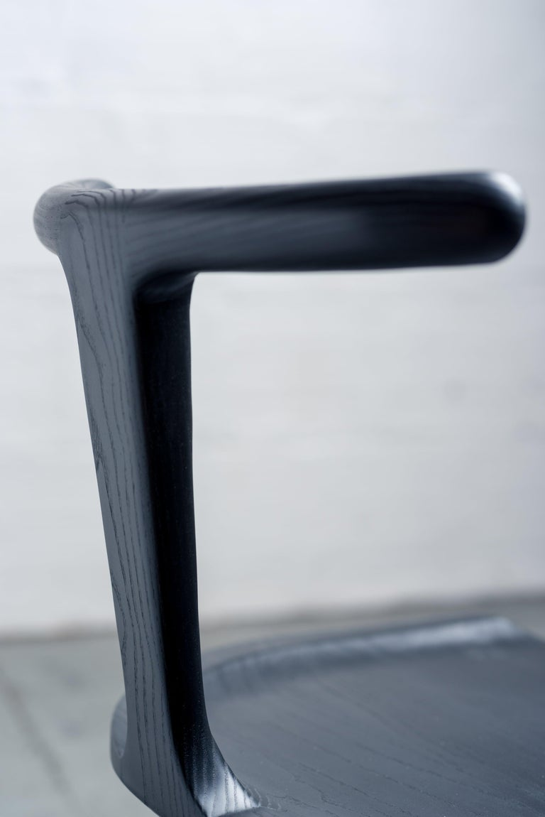 Contemporary Oxbend Chair, Dining Seat in Black Charcoal Ashwood by Fernweh Woodworking For Sale