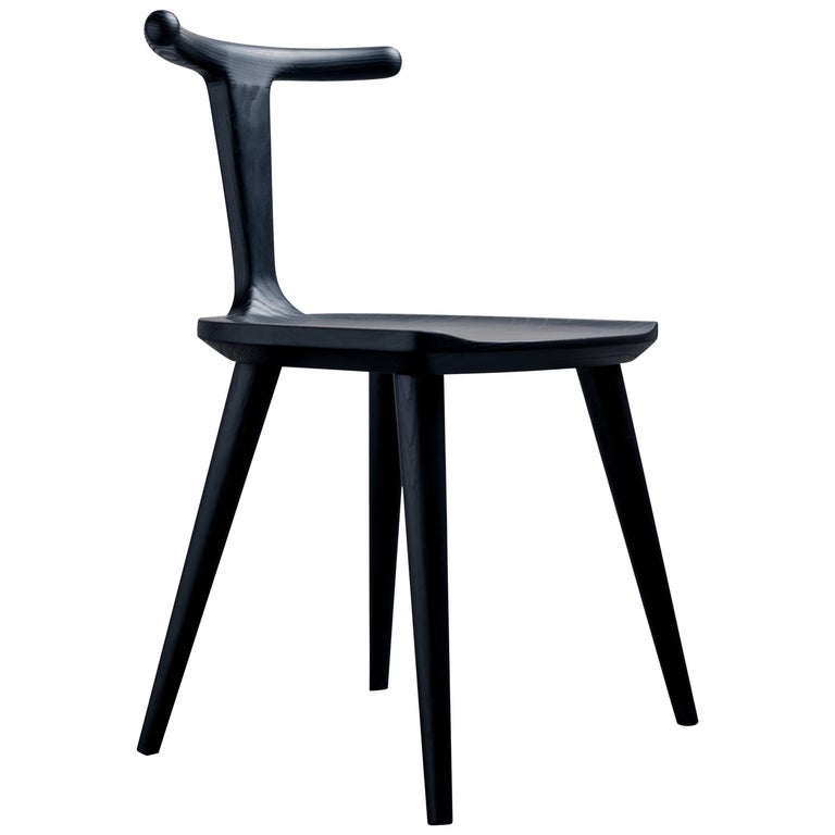 Oxbend Chair, Dining Seat in Black Charcoal Ashwood by Fernweh Woodworking For Sale